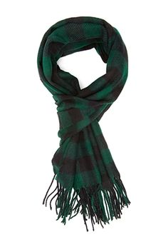 Green Frayed Plaid Scarf | FOREVER21 - 1000060374 $13