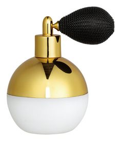 Check this out! Perfume bottle in frosted glass with a shimmery, metallic top section. Plastic and fabric pump. Diameter 2 3/4 in., height 4 in. - Visit hm.com to see more.