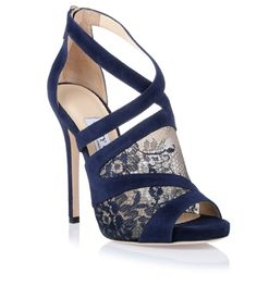 <strong>Jimmy Choo</strong> Vantage navy lace sandal