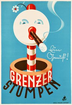 Advertising Poster, Ads, Vintage Posters, Germany, Symbols, Letters, Paper, Cigar, Smoking