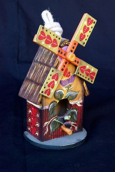 Wooden Windmill Birdhouse with Hand Painted Design by KrugsStudio, $19.99