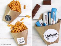 Ob für eine Party oder Filmabend – diese DIY Snack Bags sind innerhalb von 1 Minute gefaltet.