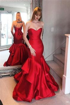 Prom Dress Fitted, Sweep-train Mermaid Sweetheart Red Lace-up Tired Evening Dress There are delicate lace prom dresses with sleeves, dazzling sequin ball gowns, and opulently beaded mermaid dresses. Red Satin Prom Dress, Red Formal Gown, Dress Red, Formal Dresses, Satin Skirt, Lace Dress, Corset Dresses, Maroon Dress, Lace Chiffon