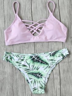 Ensemble de bikini Criss Cross Mix & Match-French SheIn(Sheinside)