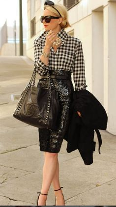 Gingham with sequin pencil skirt