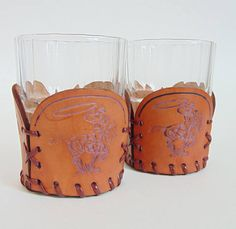 Vintage Stamped Leather Cozies Cowboy Drink Holder #Cowboydecor #modernfarmhouse #leather #cowboys #whiskey