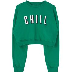 CHILL Cropped Sweatshirt (36 CAD) ❤ liked on Polyvore featuring tops, hoodies, sweatshirts, sweaters, sweatshirt, green, bunny sweatshirt, green sweatshirt, cut-out crop tops and bunny top
