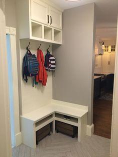 Corner bench, mudroom built-in, small Mudroom