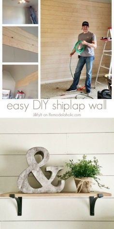 How to Install a Shiplap Wall + Rustic Home Office Makeover Easy DIY Shiplap Wall Tutorial -- an inexpensive way to add character or cover up damaged walls<br> Living Tv, Home Living, My Living Room, Diy Décoration, Easy Diy, Diy Crafts, Simple Diy, Installing Shiplap, Shiplap Diy