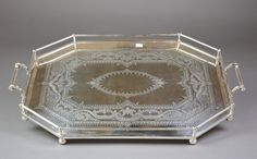 Silverplated gallery tray to serve summer drinks!
