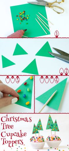 So, so, so adorable! Top your holiday cupcakes with these EASY Christmas tree toppers. #DIY #Crafts