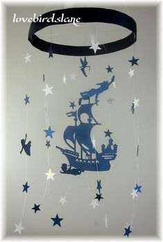 Peter Pan Nursery Mobile, Star Mobile, Nursery Bedding, Neutral Nursery Decor, Baby Shower Gift, Nautical Stars Mobile, Tinker Bell Mobile