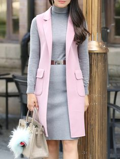 Pink Slit Sleeveless Wool Vest