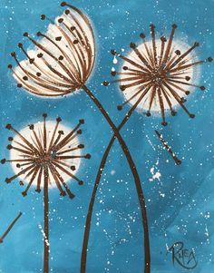 Dandelions original arylic painting on 16 x 20 by BigBirdGallery, $45.00