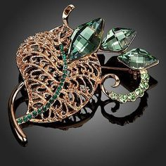 Rose Gold Plated With Green Stellux Austrian Crystal Leaves Pin Brooch  #khaista #necklace #womensfashion #dresses #fashion #earrings #jewelry #rings #women