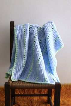Baby blanket, baby crib blanket, baby crib bedding, blue baby blanket, the Stripe Blanket, in light blue and green, ready to ship