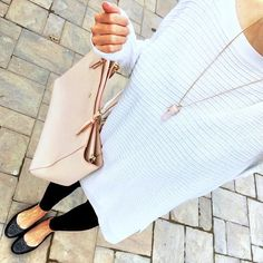 IG @mrscasual <click through to shop this look> Trouve sweater tunic.  Black leggings.  Tory burch minnie travel flats.  York tote.  Rose Quartz necklace.