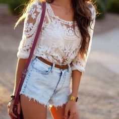 blouse jeans fashion spring ripped shorts lace top denim shorts long hair brown hair wavy hair lacy bag strap high waisted shorts spagetti straps white singlet white lace skirt burgundy shoulder bag