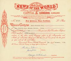 News of the World 02.11.1956, 100 7 % First Cumulative Preference Shares á £ 1, #4726, 24,7 x 28,8 cm, rot, weiß, strichentwertet, Knickfalten, sonst EF.