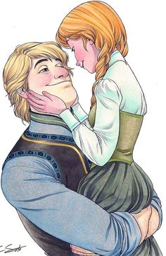 "Awesome fan art - Kristoff and Anna ""Frozen"" Disney Pixar, Film Disney, Disney Couples, Disney And Dreamworks, Disney Animation, Disney Frozen, Disney Characters, Kristoff Frozen, Anna Disney"