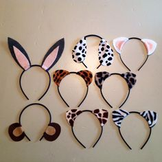 www.Partyears.etsy.com 8 quantity custom mix and match Animal Ears birthday party favors Headband. Rabbit, Dog, Cat, Cheetah, Leopard, Monkey Giraffe, Zebra and many more animals on my site. You can pick what animals you want and select custom colors. Can be used for Littlest Pet Shop, animal jam, zoo, jungle, safari party theme supplies. by www.Partyears.etsy.com , $20