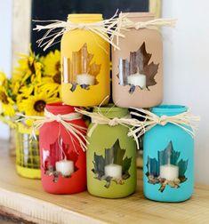 ❤ Falevél mintás mécsestartók befőttes üvegekből ❤Mindy -  kreatív ötletek és dekorációk minden napra