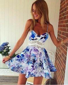 Blue white black purple floral spaghetti strap v neck lace trim skater circle a line flare mini dress