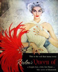 vintagechampagnefever:    Carmen Dell'Orefice as the face of Revlon in this 1950s print advert