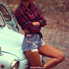 Hipster Vintage OUTFIT: High Waisted Shorts & Flannel Shirt- Free Gift With Order- All Sizes