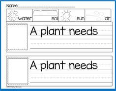 """A Plant Needs....."" (free; from Sharing Kindergarten via Freebielicious)"