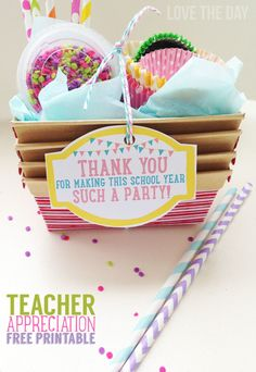 "Free Printable Teacher Appreciation Tags by Love The Day ""Thank you for making this school year such a party"""
