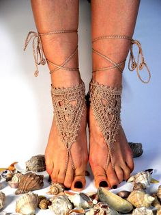 Golden Tan Crochet Barefoot Sandles, Anklet Barefoot Sandle, Foot jewelry, Steampunk, Victorian Lace, Sexy, Golden, Lolita. $15.00, via Etsy.