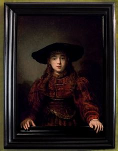 .  Rembrandt Harmenszoon van Rijn (1606 – 1669) painter and etcher of the Dutch Golden Age. One of the greatest painters and printmakers in European art history and the most important in Dutch history.  105.5 x76, 3 cm plank poplar  The Royal Castle in Warsaw, Lanckoroński .:. Rembrandt 'The Girl in a Picture Frame' or 'The Jewish Bride' 1641
