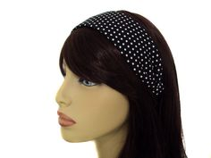 Black Polka Dot Retro 40s and 50s Rockabilly 2' Wide Headband -- Read more reviews of the product by visiting the link on the image.