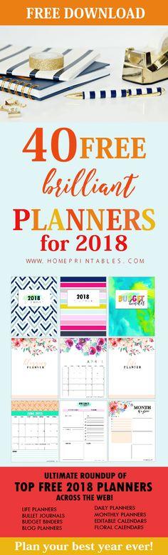 free printable planner 2018