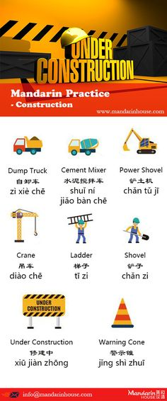 Construction Chinese Practice For more info please contact: bodi.li@mandarinhouse.cn The best Mandarin School in China
