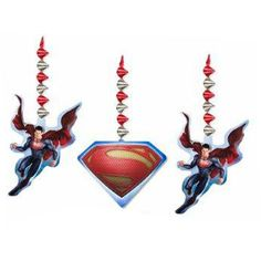 Get ready to fly into fun when you decorate for this super party! With these Superman™ Man of Steel Danglers decorating faster than a speeding b. Superman Birthday Party, Superhero Party, 3rd Birthday Parties, Boy Birthday, Superhero Classroom, Classroom Decor, Superman Party Supplies, Cheap Party Supplies, Black Friday Toy Deals