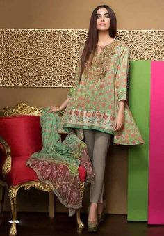 Khaadi Lawn 2017 Embroidered Shirt Shalwar Chiffon Dupatta, This Collection rejoices heritage fashion by dedicating it to regal patterns and vibrant. Pakistani Casual Wear, Pakistani Dress Design, Pakistani Outfits, Stylish Dresses For Girls, Simple Dresses, Casual Dresses, Midi Dresses, Eastern Dresses, Short Frocks