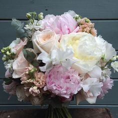 fairynuffflowers Sweet peas, stocks, peonies and O'Hara roses made Amy's bouquet one of the sweetest smelling bunches