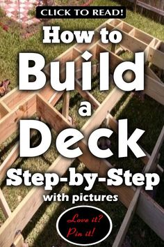 How to Build a Deck Step by Step with pictures. I've wondered how to build a deck for years! I had a deck built once &wh Patio Plan, Pool Deck Plans, Pergola Plans, Pergola Ideas, Building A Floating Deck, Building A Deck, House Building, Building Ideas, Tech Deck