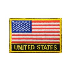 United Stats Flag Patch US Embroidered Patch Gold Border Iron On patch Sew on Patch badge Patch meet you on www.Fleckenworld.com