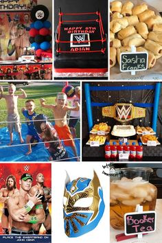 WWE Wrestling Party Ideas including decorations you can make or buy, cakes that can serve as a centerpiece, games to play for the kids birthday and pun name food ideas to serve. A WWE party isn't complete without the Pun name food. #partyideas Wrestling Birthday Parties, Wrestling Party, Wwe Birthday, First Birthday Parties, First Birthdays, Pun Names, Wwe Party, Tea Places, Games To Play