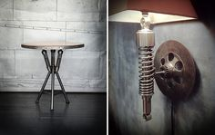 Lamp and table made from jaguar shock absorbers