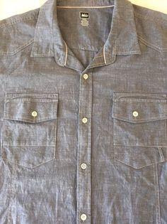 XXL REI Palomar Mens Shirt Outdoor Camp Fish Hike Blue Gray Short Sleeve Pockets #REI #ButtonFront