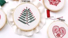 Simple Embroidery Designs, Hand Embroidery Patterns Free, Hand Embroidery Projects, Christmas Embroidery Patterns, Hand Embroidery Videos, Embroidery Stitches Tutorial, Embroidery Sampler, Embroidery Flowers Pattern, Embroidery Works