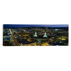 "East Urban Home Panoramic Portland, Oregon Photographic Print on Canvas Size: 24"" H x 72"" W x 1.5"" D"