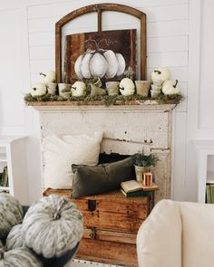 "4,891 Likes, 128 Comments - Liz Marie Blog (@lizmariegalvan) on Instagram: ""Cottage greenhouse meets pumpkins... that was the idea behind this fall mantel I put together in…"""