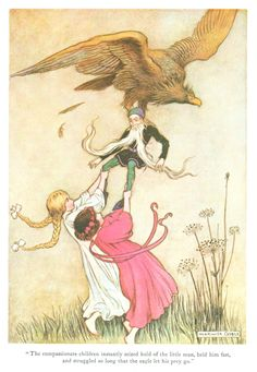 """The compassionate children instantly seized hold of the little man, held him fast, and struggled so long that the eagle let his prey go."" Illustration by Warwick Goble for ""Snow-White and Rose-Red"", 1923. From 'The Fairy Book' by Dinah Maria Mulock."