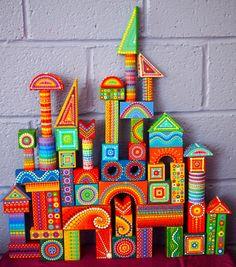 Rainbow Vintage Colourful Wooden Building Blocks- finished set. $96.00, via Etsy.