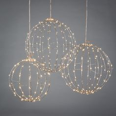 Everlasting Glow Home Set of 3 Electric Lighted Silver Spheres at Lowe's. This set of three electric LED Spheres are the coolest addition to any area! With three different spheres in three sizes: diameter, and Lantern String Lights, String Lights Outdoor, Hanging Lights, Fairy Lights, Ball Lights, Decorative String Lights, String Lights Bedroom, Plug In Hanging Light, Cool Lights For Bedroom
